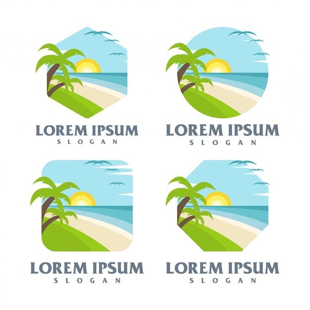 Пляжный логотип Premium векторы