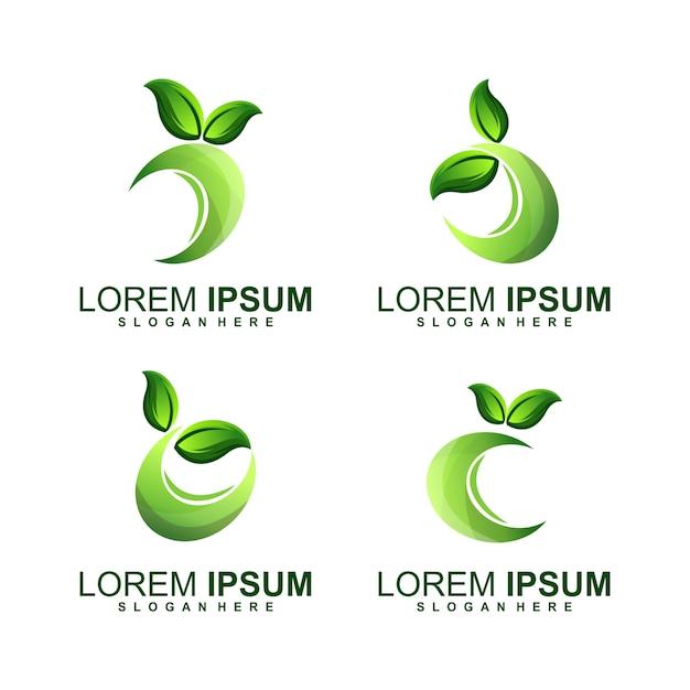 リーフサークルロゴ Premiumベクター