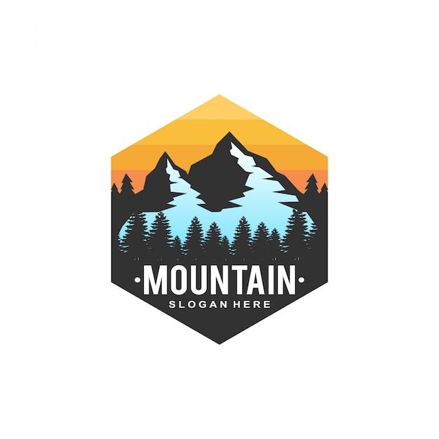Горный закат логотип Premium векторы