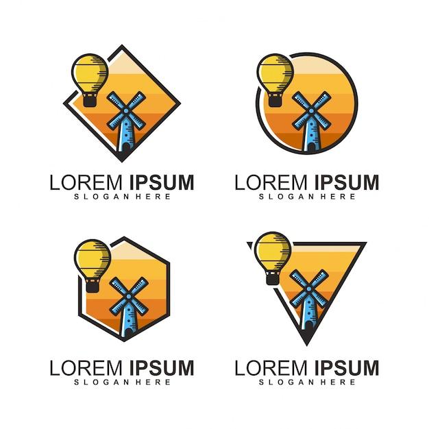 Логотип ветряных мельниц Premium векторы