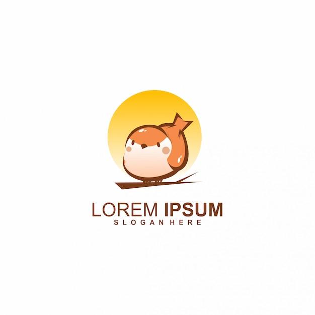 鳥の夕日のロゴ Premiumベクター