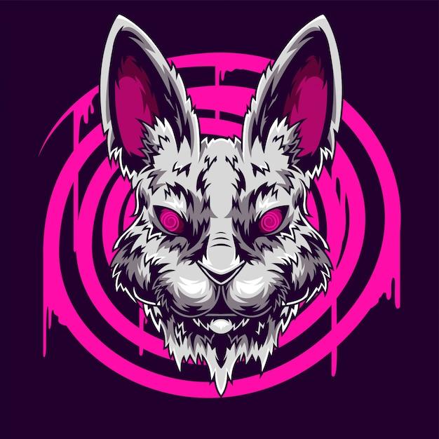 Иллюстрация головы кролика Premium векторы