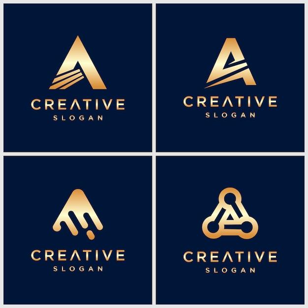 Премиум золотая буква логотип для компании Premium векторы