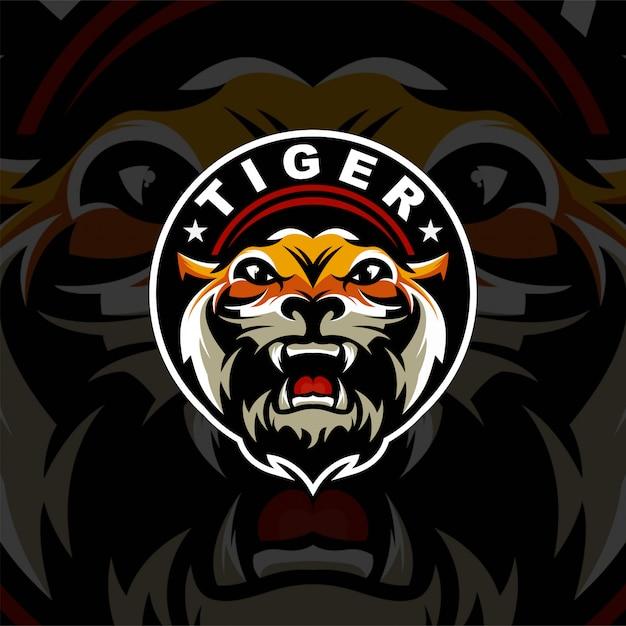 Тигровая голова логотип премиум для спорта Premium векторы