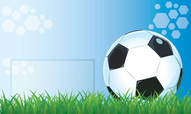 草スタジアム青い背景のサッカー。 Premiumベクター