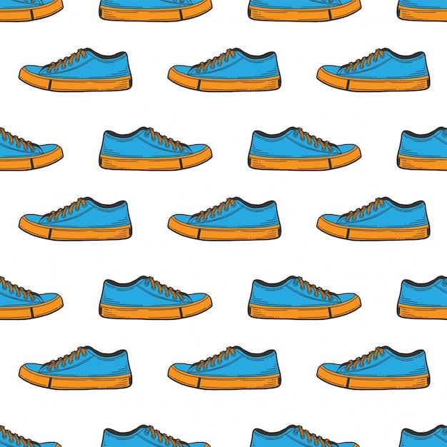 スニーカーの靴のシームレスパターン Premiumベクター