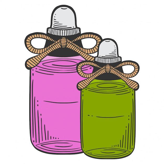 マッサージオイル、アロマセラピーのボトル。 Premiumベクター