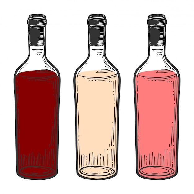ワインの瓶、グラス。 Premiumベクター