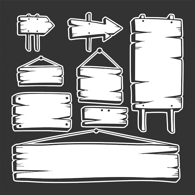 Ручной обращается деревянная доска, указатели, стрелки Premium векторы