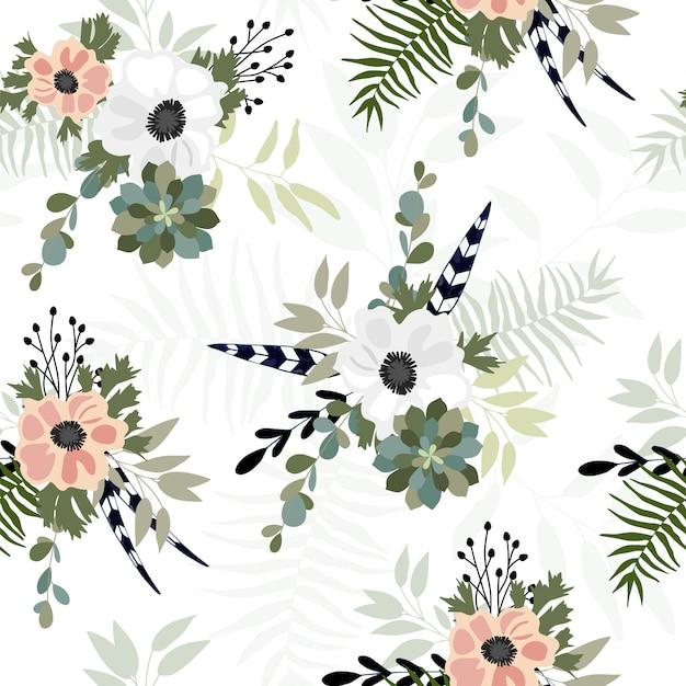 春の花とのシームレスなパターン。 Premiumベクター