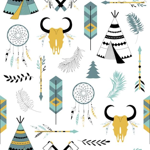 部族の要素とのシームレスなパターン。 Premiumベクター