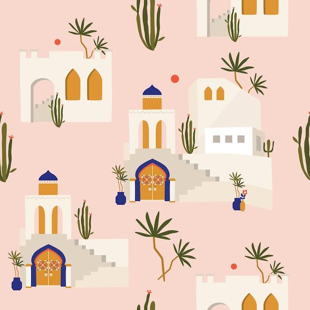 Марокканский бесшовный образец со старым городом. Premium векторы