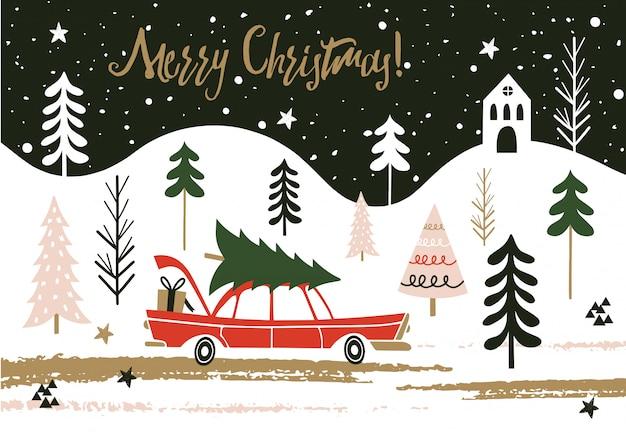 メリークリスマスカード。 Premiumベクター