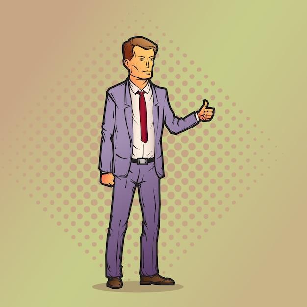 漫画のスタイルのビジネスマン Premiumベクター