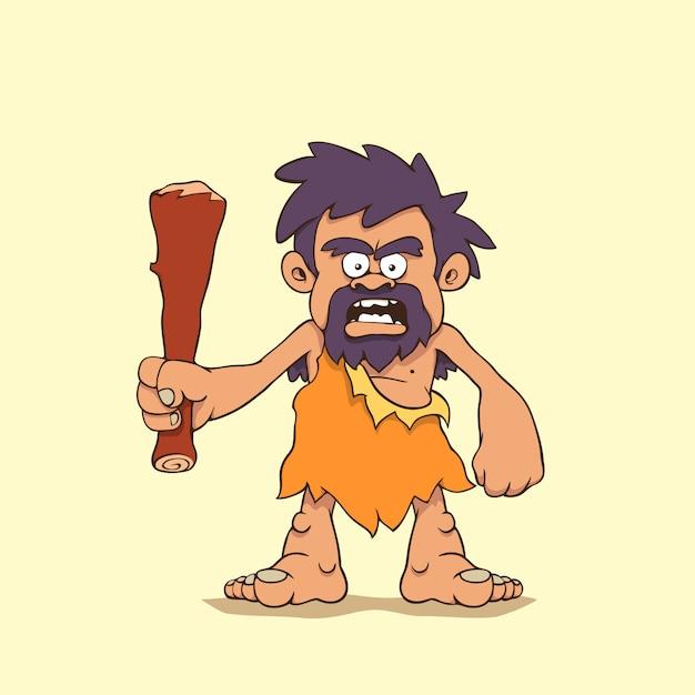 Мультфильм пещерный человек Premium векторы