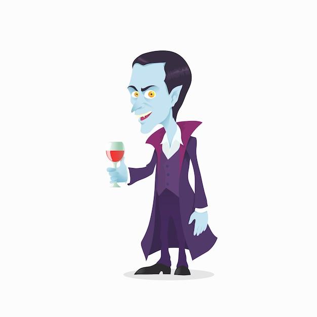 漫画のスタイルでかわいい吸血鬼 Premiumベクター