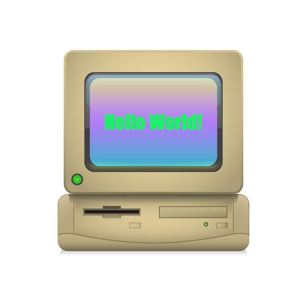 レトロなコンピューターがオン Premiumベクター