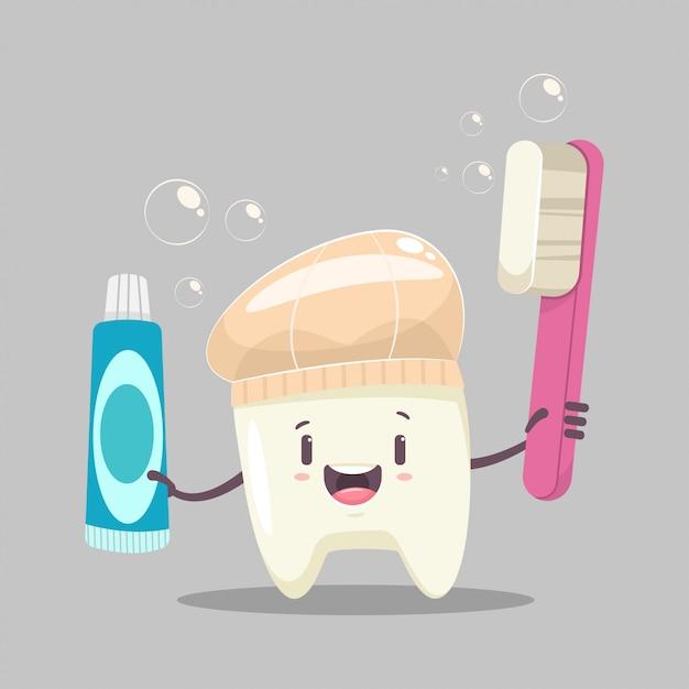 Счастливый зубной персонаж с зубной щеткой Premium векторы