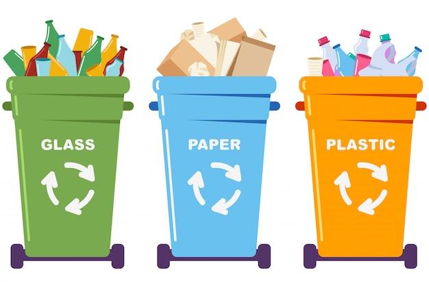 紙、プラスチック、ガラスでゴミ箱に捨てられたゴミ。白い背景に分離された漫画の概念図をリサイクルします。 Premiumベクター