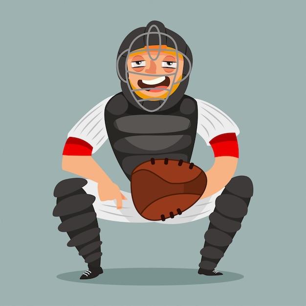 Ловец бейсболиста. мультипликационный персонаж человека в маске, перчатки, шлем и спортивной одежды. иллюстрация на белом фоне. Premium векторы