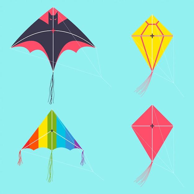 Воздушный змей векторный мультфильм набор изолированных. Premium векторы