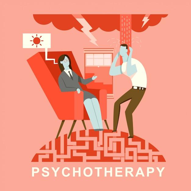 心理療法の概念図。心理学者と相談中の患者 Premiumベクター