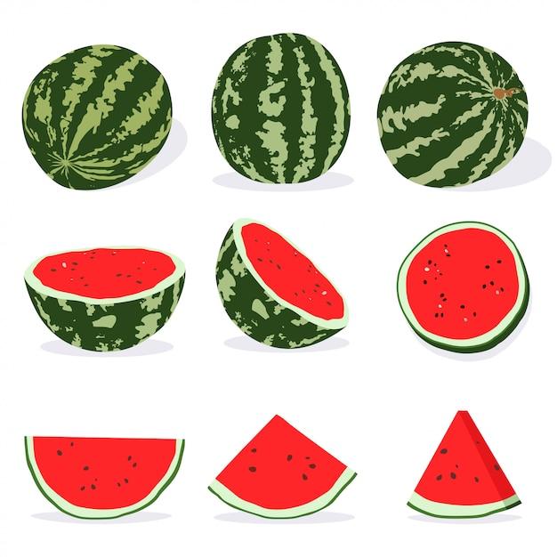 Арбуз целый, половина и ломтик. векторный мультфильм набор летних фруктов иллюстрации изолированных Premium векторы