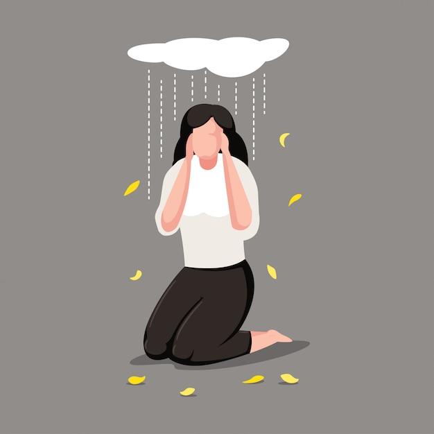 うつ病女性キャラクター Premiumベクター