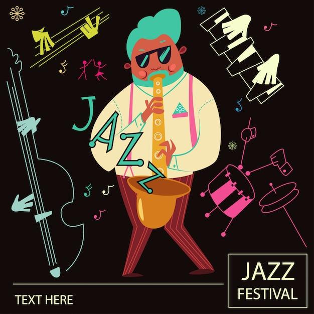 ジャズミュージックポスター Premiumベクター