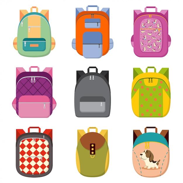 Школа, колледж, туристический рюкзак набор изолированных белый Premium векторы