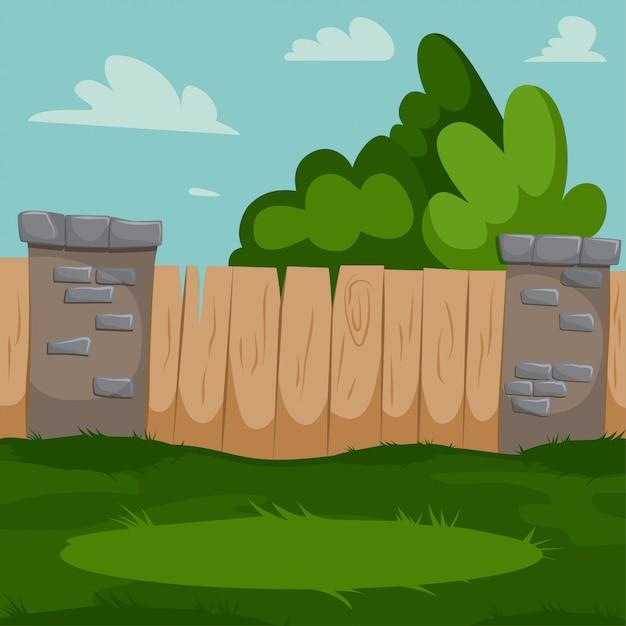 Двор с деревянным забором, кирпичные колонны и зеленой травой. Premium векторы