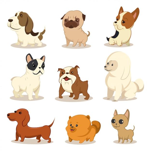 Милый мультфильм собака векторный набор. Premium векторы