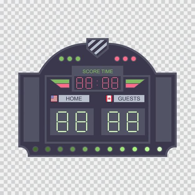 透明な背景に分離されたクロックフラットイラストデジタルスタジアムスコアボード。 Premiumベクター