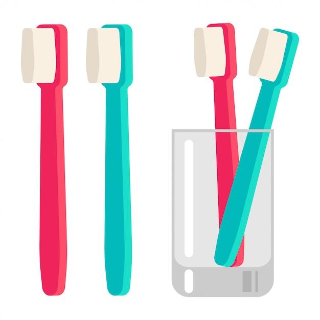 Зубная щетка в стеклянной чашке вектор мультфильма плоской иллюстрации, изолированных на белом фоне. Premium векторы
