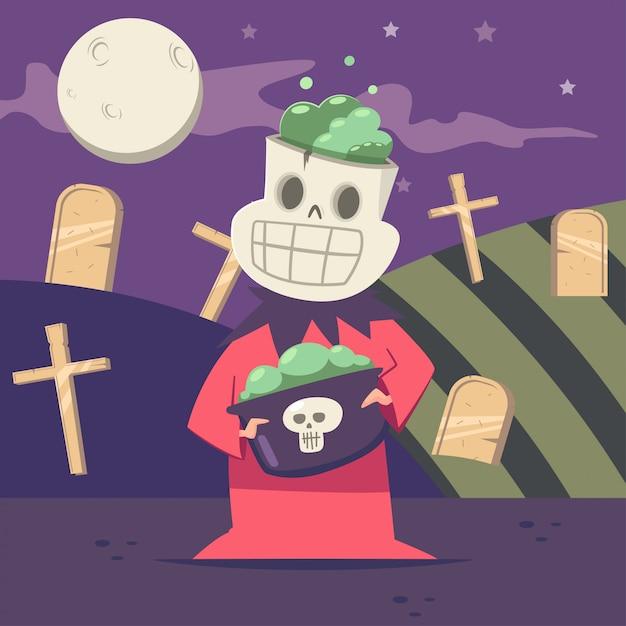 墓地と月の背景に骸骨のハロウィーンキッズコスチューム。 Premiumベクター