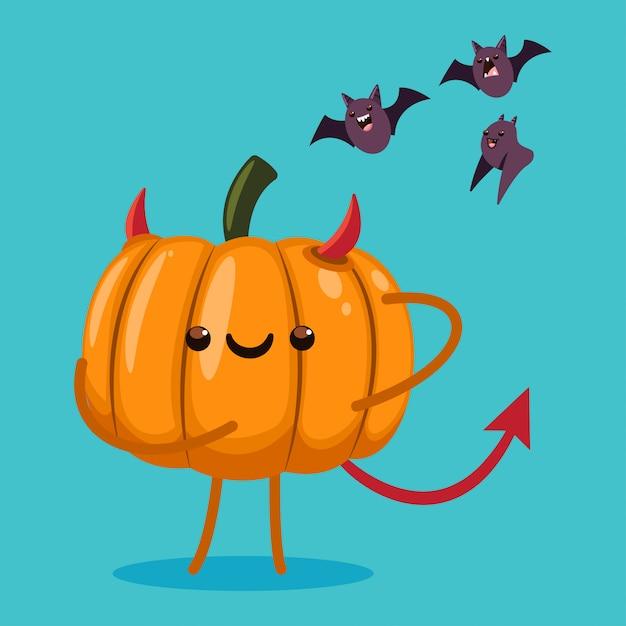 悪魔の衣装とコウモリのかわいいハロウィーンカボチャキャラクター。背景に分離された漫画イラスト。 Premiumベクター