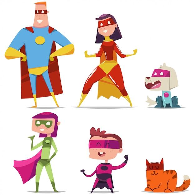 Семья супергероев с ребенком, кошкой и собакой. Premium векторы
