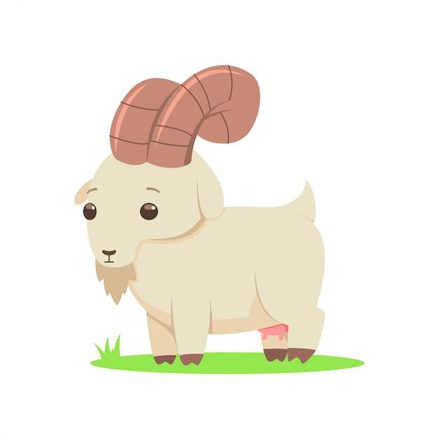 Коза вектор мультипликационный персонаж на белом фоне. Premium векторы