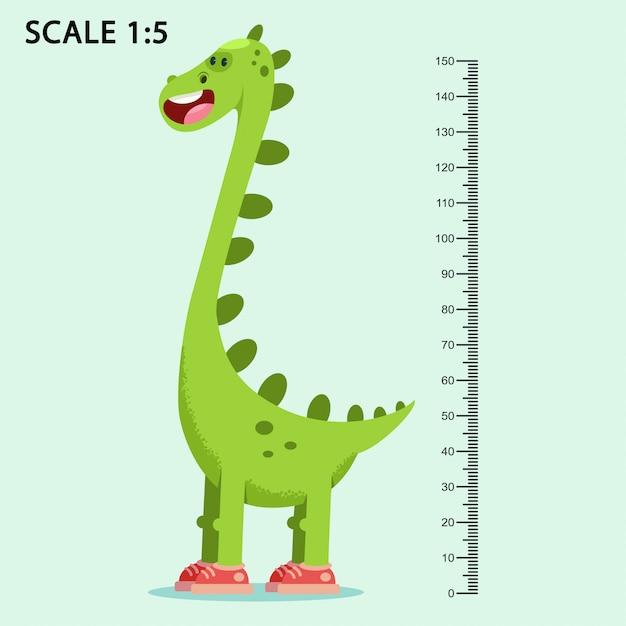 子供はかわいい笑顔漫画恐竜と背景に分離された動物の定規ベクトルイラストを測定で壁をメーターで計ります。 Premiumベクター