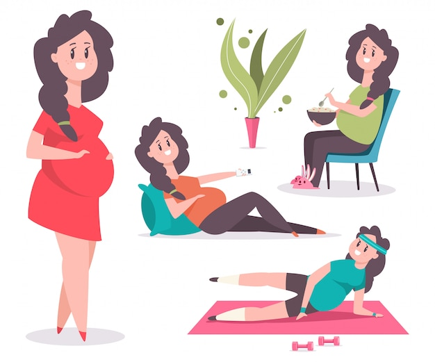 かわいい妊娠中の女性のキャラクターは、フィットネスに従事している、健康的な食べ物を食べる、枕の上にあります。白で隔離面白いお母さんの漫画セット。 Premiumベクター