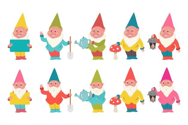 Набор персонажей мультфильма милые садовые гномы Premium векторы