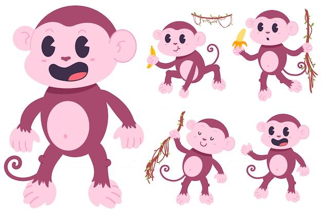 Набор персонажей мультфильма милые обезьяны Premium векторы