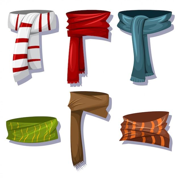 男性と女性向けの冬のスカーフとショール Premiumベクター