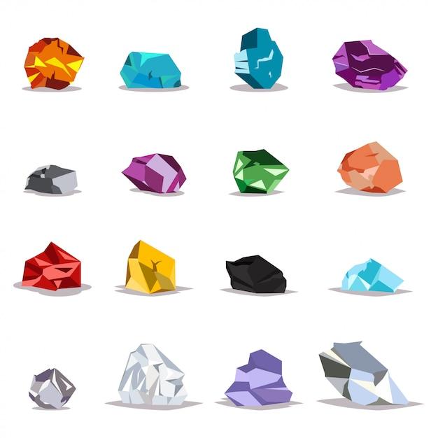 Набор натуральных камней и кристаллов Premium векторы