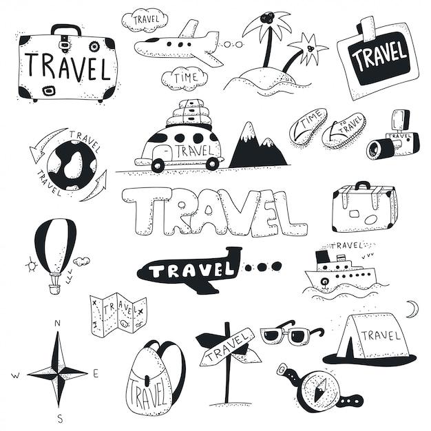 Значок путешествия каракули набор. Premium векторы