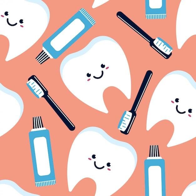 歯のキャラクター、歯磨き粉、歯ブラシのシームレスなパターン。 Premiumベクター