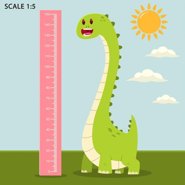 かわいい恐竜と測定定規とキッズメーター壁 Premiumベクター