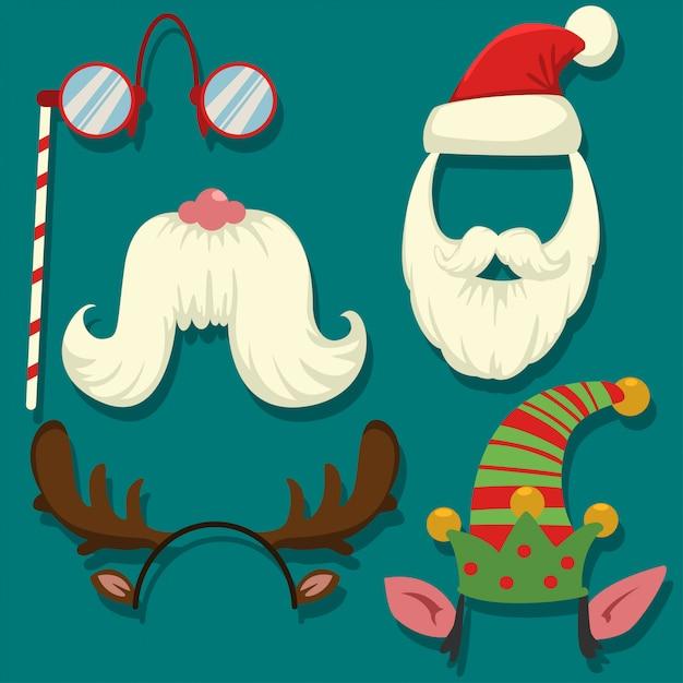 クリスマス写真ブースの小道具ベクトル漫画セット。パーティー用のカーニバルマスク:サンタクロースとエルフの帽子とひげ、トナカイの角、頭上ゴーグル、口ひげ。 Premiumベクター