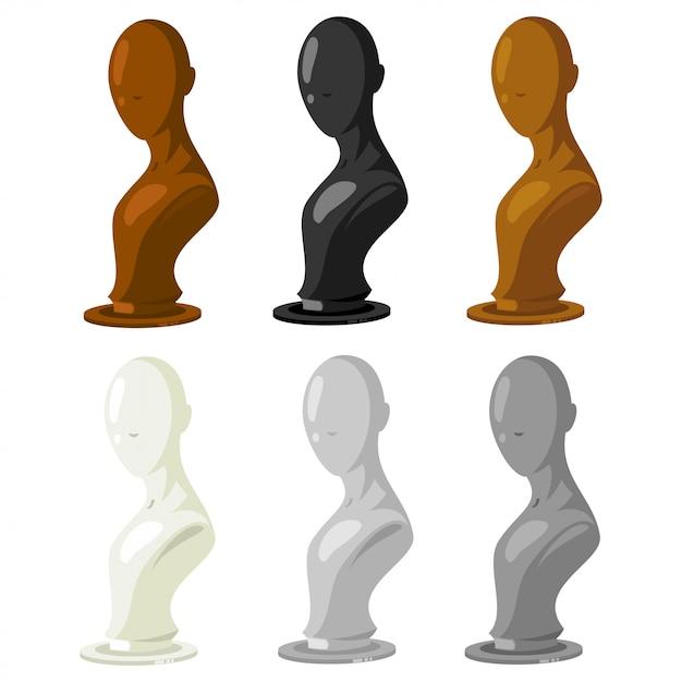 Манекен векторный набор. модель магазина модных аксессуаров для ювелирных изделий, париков, шляп, очков и т.д. Premium векторы