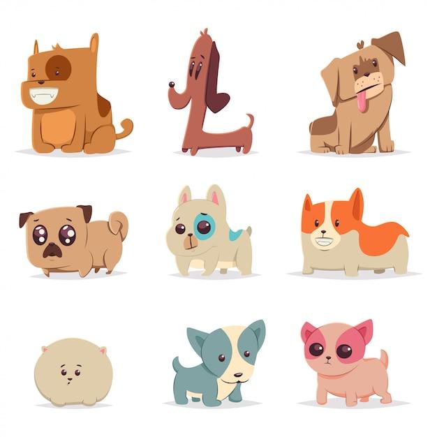 Набор милых забавных щенков. собака мультфильма векторный характер. иллюстрация домашних животных Premium векторы